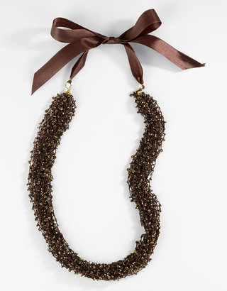 Catherine Stein Bronze Woven Beaded Ribbon Necklace - Catherine Stein Necklaces