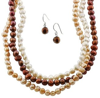Sterling silver dyed freshwater cultured pearl multistrand necklace &amp; drop earring set - Layered Pearl Necklace