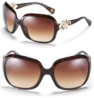 DIANE von FURSTENBERG Large Rectangular with Love Knot Sunglasses - Sunglasses