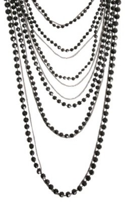 Black Bead and Hematite Chain Layer Necklace - Layered Beaded Necklace