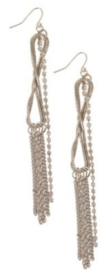 Silver Linear Rhinestone Twisted Chain Dangle Earring - Torrid