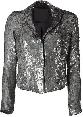 Gryphon Silver All Over Sequined Short Jacket - Sequined Sweaters