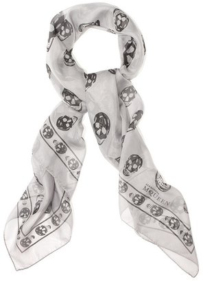 Graphite/grey Skull Scarf - Alexander McQueen Scarves