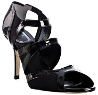 Christian Dior black patent trim stretch sandals - Heels
