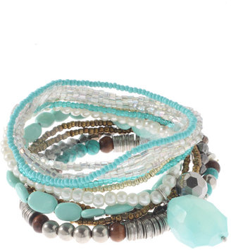 Oasis Caravan Of Love Turquoise Stretch Bead Bracelet Set -  Bohemian Jewelry