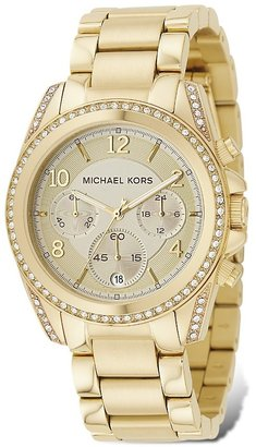 MICHAEL Michael Kors Gold Plated Stainless Steel Chronograph Watch with Clear Stones on Bezel, 39 mm - Gold Chronograph Watches 