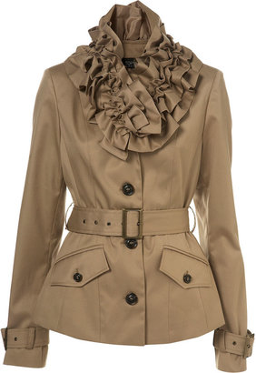 Rose Collar Trench Coat - Raincoat