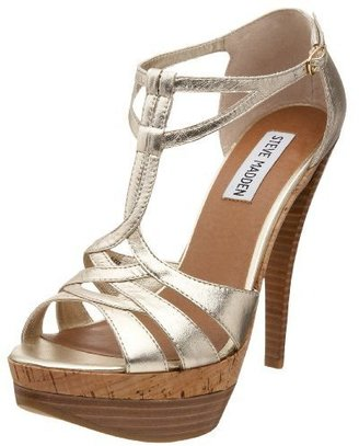 Steve Madden Women's Alicce Strappy T-Strap With Ankle Strap - Shimmery Gold Sandals
