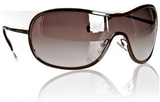 Armani Giorgio Armani shiny brown shield wraparound sunglasses - Shield Wrap Sunglasses