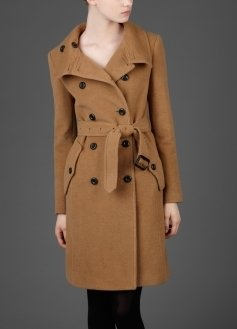 Double Breasted Camel Trench Coat - Clothes