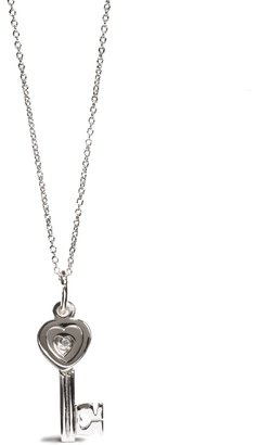 Sterling Charming Heart Key Pendant - Sterling Silver Heart Necklaces