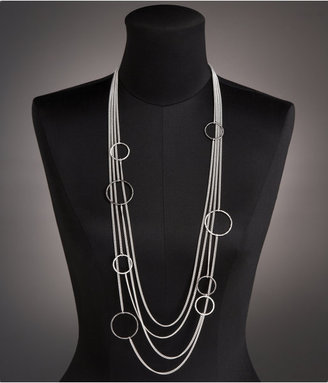 Hoop Layered Chain Necklace - Layered Sterling Necklace