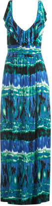 Tie Dye Ruffle V-Neck Maxi Dress - Arden B