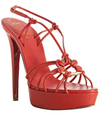 Christian Louboutin coral leather &#39;Discolilou 140&#39; platform sandals - Christian Louboutin