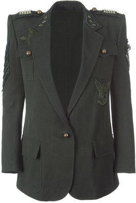 Balmain Military Green Jacket With Applications - Outerwear