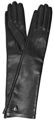 Gucci black leather Gucci crest long gloves - Gucci