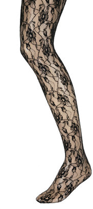 Jonathan Aston Black Sweet Roses Lace Tights - Pajamas &amp; Intimates