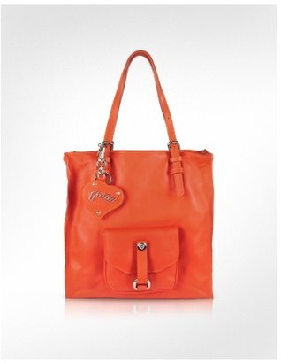 Ghibli Orange Nappa Leather Zippered Tote Bag - Tote Bags