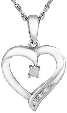 Sterling silver opal heart pendant - Sterling Silver Heart Necklaces
