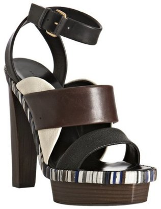 Balenciaga coffee leather ankle wrap platform sandals - Heels