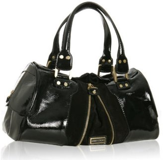 Jimmy Choo black patent leather 'Marla' top satchel - Handbags