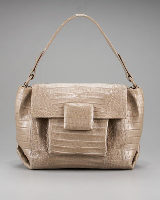 Nancy Gonzalez Square-Flap Croc Satchel - Shoulder Bags