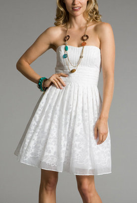 Burnout White Strapless Dresses - Clothes