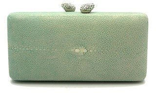 KOTUR &quot;JB Renna&quot; Shagreen Stingray Green Clutch - Contemporary Box Clutch