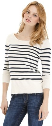 Aqua Striped Cotton Boatneck Sweater - Striped Boatneck Sweaters
