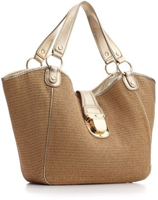 MICHAEL Michael Kors Handbag, Charlton Soft Straw Tote, Large - Handbags