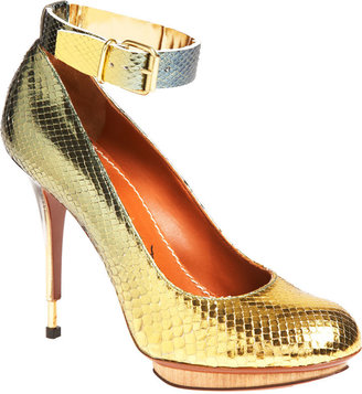 Lanvin Metallic Python Platform Pump - Gold/Blue - Gold Heels