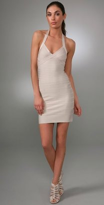 Herve Leger Signature Essentials Halter Cocktail Dress - Clothes