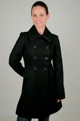 Tulle Long Double Breasted Peacoat in Black - The Jackie O Jacket