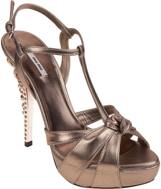 Miu Miu T-Strap Jeweled Sandal - Gold - Platform Sandals