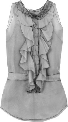 Oscar de la Renta Silk-organza ruffled blouse - Oscar de la Renta