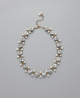 Cubic Zirconia and Freshwater Pearl Station Necklace - Ann Taylor