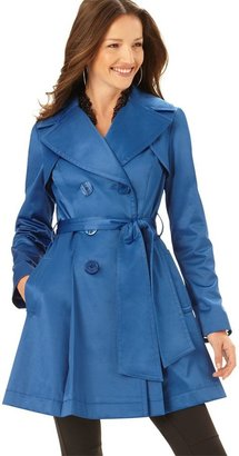 Jessica Simpson Coat, Trenchcoat With Pleated Bottom - Outerwear
