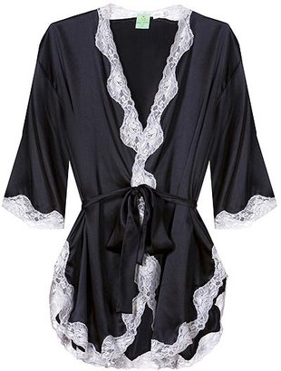 Mary Green Silk Kimono With Lace - Silk Pajamas