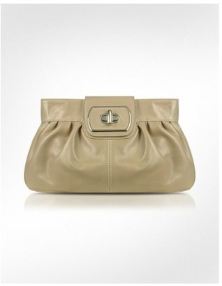 Buti Beige Genuine Leather Twist-lock Clutch - Buti