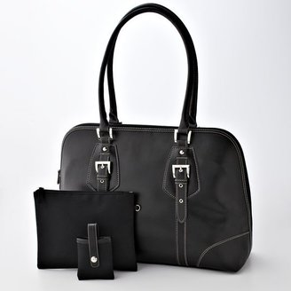 Croft & barrow® faux-leather buckle handbag - Leather Tote