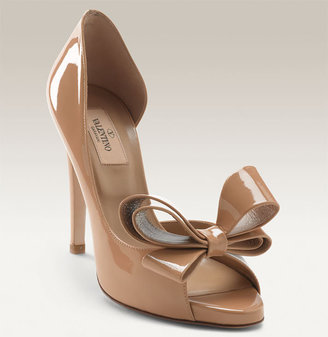 Valentino Bow Detailed Patent Leather d&#39;Orsay Pump - Heels