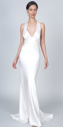 Nicole Miller Antique White Satin Evening Gown - Beautiful Beach Wedding Dresses