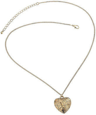 Embossed Heart Pendant - Gold Pendant Necklaces