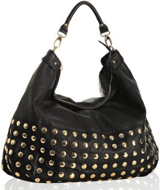 Deux Lux black faux leather &#39;Piper&#39; studded large hobo - Studded Hobo Bag