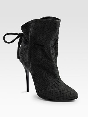 Giuseppe Zanotti Python-Print Drawstring Ankle Boots - Paperbag Booties