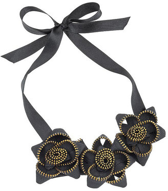 Zip Flower Collar Necklace - Statement Necklace