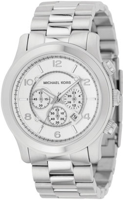 MICHAEL KORS Silver Oversized Runway Watch - Oversized Watches for Women
