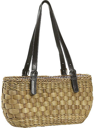 Straw Studios Double Handle Basket Bag - Handbags