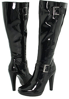 Promiscuous - Jess (Wide Calf) (Black Patent PU) - Tall Boots For Big Calves