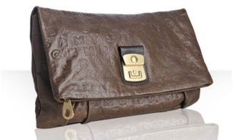 Marc by Marc Jacobs brown leather logo embossed clutch - Handbags